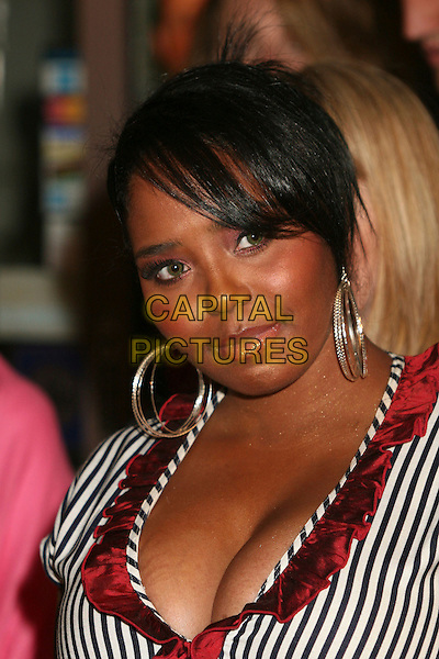 "SHAR JACKSON.""Hats Off For Cancer"" Benefit Party at Sugar Boutique, Hollywood, California, USA..May 9th, 2007.headshot portrait hoop earrings cleavage black white pinstripe striped stripes red ruffles.CAP/ADM/BP.©Byron Purvis/AdMedia/Capital Pictures"