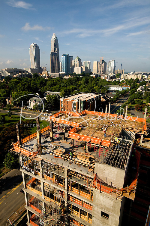 High rise construction projects are reshaping the Charlotte, NC, skyline and downtown business district. Photos taken as part of a story package on crane construction.
