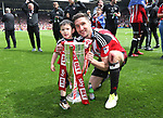 Sheffield United's Chris Basham celebrates with the trophy during the League One match at Bramall Lane, Sheffield. Picture date: April 30th, 2017. Pic David Klein/Sportimage