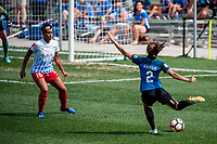 Kansas City, MO - Saturday September 9, 2017: Samantha Johnson, Shea Groom during a regular season National Women's Soccer League (NWSL) match between FC Kansas City and the Chicago Red Stars at Children's Mercy Victory Field.
