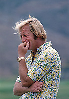 Walter 'Yippy' Rankin watches his wife, Judy Rankin, in action at the Carlton, a golf tournament on the LPGA Tour played at the Calabasas Country Club, Calabasas, California, September 1976. Photo by John G. Zimmerman.
