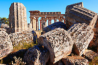 Doric column drums - Greek Dorik Temple ruins of Temple F at Selinunte, Sicily