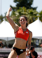 Jen Stuczynski celebrating after her American Record vault of 16' 3/4 at the Adidas Track Classic in Carson,Ca. at the Home Depot Center on Sunday, May 18, 2008. Photo by Errol Anderson, The Sporting Image.
