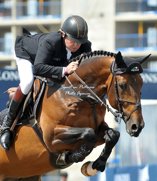 Nick Skelton riding BIG STAR. SHOW JUMPING - Longines Global Champions Tour. Olympic Park. Stratford. London. 08/06/2013. MANDATORY Credit Garry Bowden/SIP - NO UNAUTHORISED USE - 07837 394578
