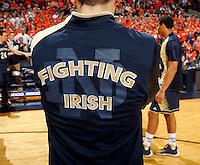 Notre Dame fighting irish jersey during the game Saturday, February 22, 2014,  in Charlottesville, VA. Virginia won 70-49.
