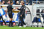 11.05.2019, PreZero Dual Arena, Sinsheim, GER, 1. FBL, TSG 1899 Hoffenheim vs. SV Werder Bremen, <br /> <br /> DFL REGULATIONS PROHIBIT ANY USE OF PHOTOGRAPHS AS IMAGE SEQUENCES AND/OR QUASI-VIDEO.<br /> <br /> im Bild: Florian Kohlfeldt (Trainer / Interimstrainer, SV Werder Bremen) bei Schiedsrichter Bastian Dankert<br /> <br /> Foto &copy; nordphoto / Fabisch
