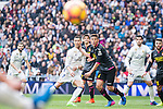Cristiano Ronaldo of Real Madrid competes for the ball with Oscar Duarte of RCD Espanyol during the match of La Liga between Real Madrid and RCE Espanyol at Santiago Bernabeu  Stadium  in Madrid , Spain. February 18, 2016. (ALTERPHOTOS/Rodrigo Jimenez)