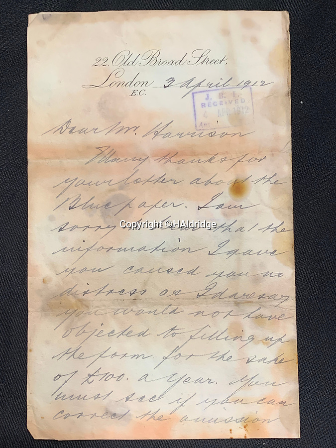 BNPS.co.uk (01202 558833)<br /> Pic: HAldridge/BNPS<br />  <br /> Letter sent to William Harrison from a friend telling Mr Harrison to have a pleasent trip, valued at £1500<br /> <br /> Remarkable water-stained documents recovered from the body of the assistant to the most controversial person on the Titanic have been discovered 107 years later.<br /> <br /> The personal archive of valet William Harrison also includes a four page letter he wrote home to his wife moaning about his working conditions under Bruce Ismay.<br /> <br /> The managing director of Titanic's owners White Star Line was portrayed as a coward in James Cameron's epic movie when he snuck into a lifeboat rather than going down with the ship.<br /> <br /> Mr Harrison told her how he was 'fed up' with spending hours writing letters to post for Ismay.
