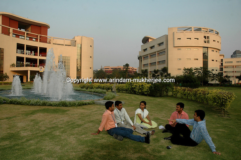 Software professionals sitting at a garden inside the Information technology sector (sector -V) in Saltlake, Calcutta