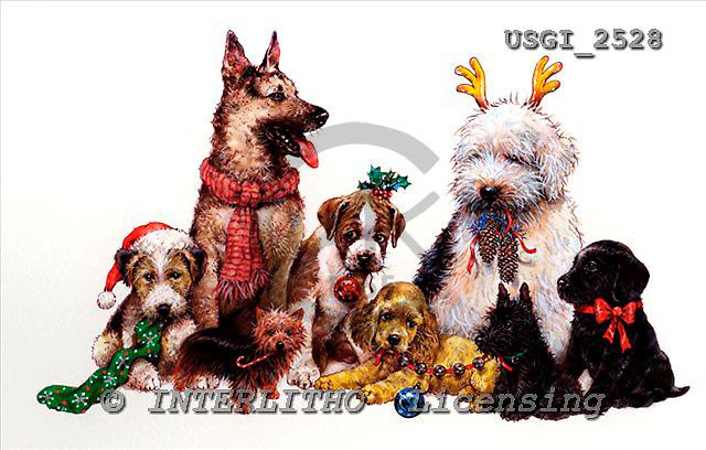 GIORDANO, CHRISTMAS ANIMALS, WEIHNACHTEN TIERE, NAVIDAD ANIMALES, paintings+++++,USGI2528,#XA# dogs,puppies