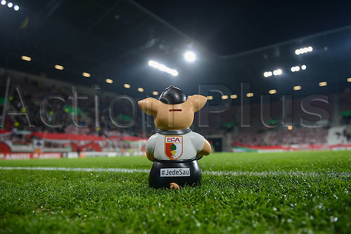 18.02.2016. Augsburg, Germany. UEFA Europa League football. Augsburg versus Liverpool FC.  FC Augsburg emblem  of a money pig