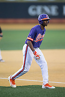Pinch-runner Maleeke Gibson (1) of the Clemson Tigers takes his lead off of third base against the Wake Forest Demon Deacons at David F. Couch Ballpark on March 12, 2016 in Winston-Salem, North Carolina.  The Tigers defeated the Demon Deacons 6-5.  (Brian Westerholt/Four Seam Images)
