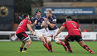 Mark Bright (Captain) of London Scottish in action during the Greene King IPA Championship match between London Scottish Football Club and Jersey at Richmond Athletic Ground, Richmond, United Kingdom on 7 November 2015. Photo by Andy Rowland.