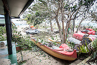 Namotu Island Resort, Nadi, Fiji (Sunday, February 21 2016): Severe Tropical Cyclone Winston, a Cat 5 cyclone and described as the worse storm to ever hit Fiji hit us full on during the night with winds reported to be as high as 320 klm per hour. The predicted track had been changing all Saturday but it eventually passed less than60 klms to the North of the island between 10 pm and 2 am. The island was buffeted by extremely strong winds which brought down a number of trees and broke the tops off a number of coconut palms. The storm also cased some minor damage to the buildings, tearing parts of the roof off the Villa. It also stripped leaves off a good proportion of the islands vegetation. Rain squalls, strong winds, thunder and lightning continued through most of Sunday as the TC moved to the West of us. Photo: joliphotos.com