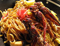 Taiwanese grasshopper (adult) fried noodle at a bug eating party in Tokyo, Japan. The bug eating movement is gaining in popularity in Japan where bug eating gourmet cooking parties are sold-out.  The insects are seen as the ultimate challenge in the world's gastronomical capitol but alo seen as an important alternative source of protein for the future and even the Japanese Space Program is looking into using insects as food in space travel.