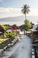 Small village on the banks of Lake Toba (Danau Toba), the largest volcanic lake in the world, North Sumatra, Indonesia