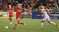 Portland, Oregon - Sunday September 11, 2016: Portland Thorns FC midfielder Allie Long (10) passes the ball during a regular season National Women's Soccer League (NWSL) match at Providence Park.