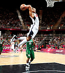 Engeland, London, 2 Augustus 2012.Olympische Spelen London.Basketbal USA-Nigeria 156-73.De basketballers van de Verenigde Staten hebben in hun derde wedstrijd op de Olympische Spelen geschiedenis geschreven.