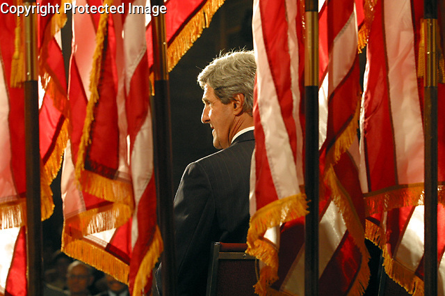 Presidential candidate John Kerry during the speech in the Veteran Memorial room at the Bronx County Courthouse today in the Bronx..