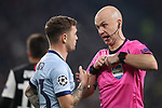 Referee Anthony Taylor speaks with Kieran Trippier of Atletico Madrid during the UEFA Champions League match at Juventus Stadium, Turin. Picture date: 26th November 2019. Picture credit should read: Jonathan Moscrop/Sportimage