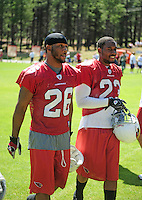 Jul 30, 2008; Flagstaff, AZ, USA; Arizona Cardinals cornerback (26) Roderick Hood and cornerback (23) DeMario Minter during training camp on the campus of Northern Arizona University. Mandatory Credit: Mark J. Rebilas-