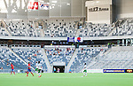 Stockholm 2014-07-20 Fotboll Superettan Hammarby IF - &Ouml;sters IF :  <br /> Vy &ouml;ver Tele2 Arena under matchen med &Ouml;sters supportrar p&aring; l&auml;ktaren med tomma sektioner runt om<br /> (Foto: Kenta J&ouml;nsson) Nyckelord:  Superettan Tele2 Arena Hammarby HIF Bajen &Ouml;ster &Ouml;IF inomhus interi&ouml;r interior supporter fans publik supporters