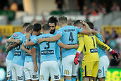 9th January 2018, nib Stadium, Perth, Australia; A League football, Perth Glory versus Melbourne City; Melbourne City huddle before the start of the match against Perth Glory