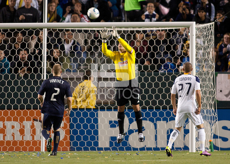 Philadelphia Union goal keep Faryd Mondragon (1) with a save. The LA Galaxy defeated the Philadelphia Union 1-0 at Home Depot Center stadium in Carson, California on  April  2, 2011....