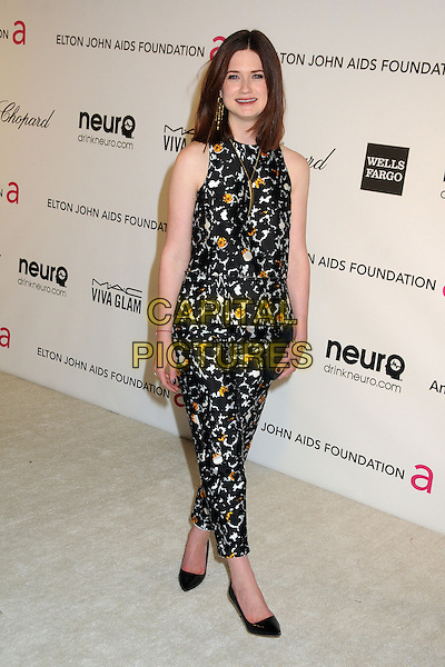 Bonnie Wright.21st Annual Elton John Academy Awards Viewing Party held at West Hollywood Park, West Hollywood, California, USA..February 24th, 2013.oscars full length white black orange print pattern jumpsuit clutch bag sleeveless .CAP/ADM/BP.©Byron Purvis/AdMedia/Capital Pictures.