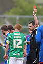 Referee Stuart Attwell shows the red card to Michael Woods of Yeovil. - Yeovil Town v Stevenage - npower League 1 - Huish Park, Yeovil - 14th April, 2012 . © Kevin Coleman 2012..