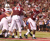 NWA Democrat-Gazette/MICHAEL WOODS • @NWAMICHAELW<br /> University of Arkansas running back Rawleigh Williams III, scores a touchdown in the 2nd quarter against Texas State, Saturday, September 17, at Razorback Stadium in Fayetteville.