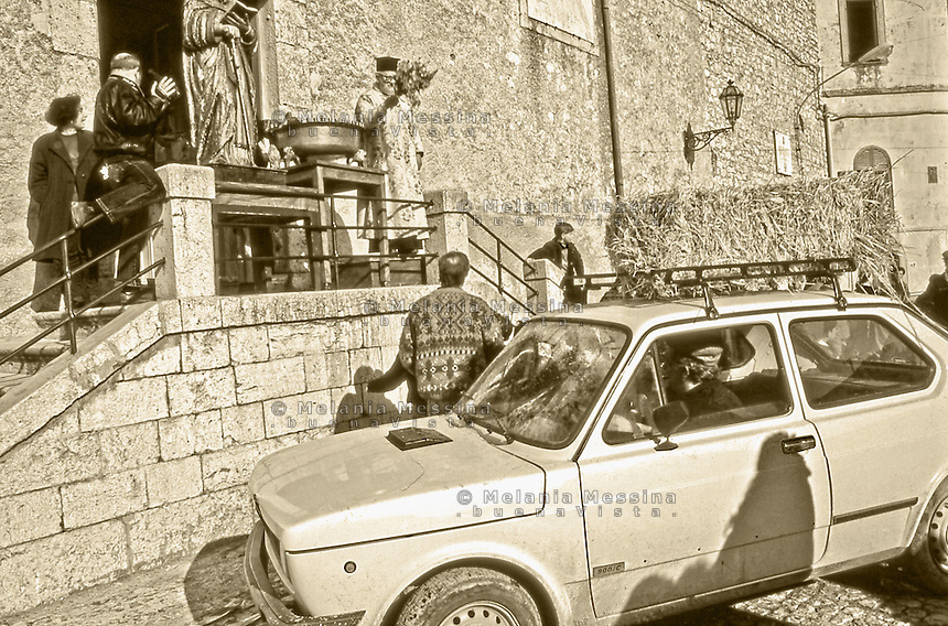 Palazzo Adriano, blessing of the cars according to the greek orthodox rite of the Albanian rural community in Sicily.<br /> Palazzo Adriano; benedizione delle auto con il rito greco ortodosso della comunit&agrave; contadina albanese in Sicilia.
