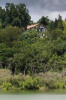 France, Aquitaine, Pyrénées-Atlantiques, Pays Basque, Biarritz: La Villa Mouriscot au lac Mouriscot //  France, Pyrenees Atlantiques, Basque Country, Biarritz: Villa Mouriscot  and Lake of Mouriscot