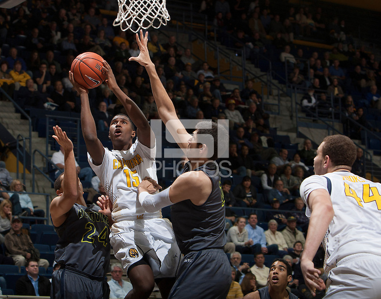 Jordan Mathews of California shoots the ball during the game against UC Irvine at Haas Pavilion in Berkeley, California on December 2nd, 2013.  California defeated UC Irvine, 73-56.