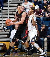 Richard Solomon of California in defense mode during the game against Utah at Haas Pavilion in Berkeley, California on January 14th, 2012.  California defeated Utah, 81-45.