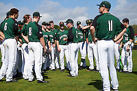 Dartmouth Big Green head coach Bob Whalen (2) talks with his team before a game against the Eastern Michigan Eagles on February 25, 2017 at North Charlotte Regional Park in Port Charlotte, Florida.  Dartmouth defeated Eastern Michigan 8-4.  (Mike Janes/Four Seam Images)