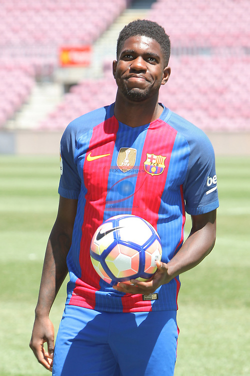 League BBVA 2016/2017.<br /> Samuel Umtiti presented as new player of FC Barcelona.