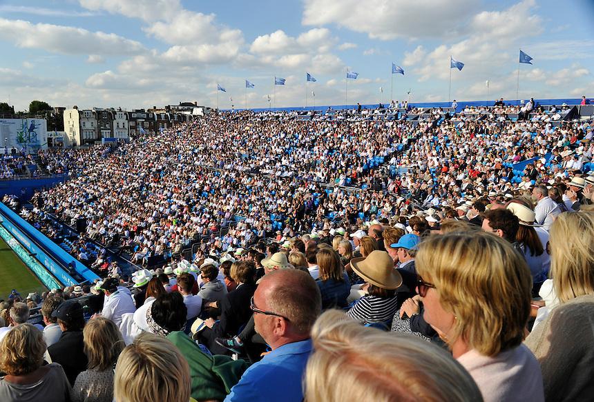 Fans enjoying late afternoon sun on Quarter Finals Day<br /> <br /> Photographer Ashley Western/CameraSport<br /> <br /> Tennis - ATP 500 World Tour - AEGON Championships- Day 5 - Friday 19th June 2015 - Queen's Club - London <br /> <br /> &copy; CameraSport - 43 Linden Ave. Countesthorpe. Leicester. England. LE8 5PG - Tel: +44 (0) 116 277 4147 - admin@camerasport.com - www.camerasport.com