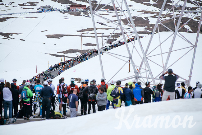 fans watching the riders come up the famous (&amp; highest point in this years Giro) Passo dello Stelvio (alt: 2758m)<br /> <br /> Stage 16: Rovett &rsaquo; Bormio (222km)<br /> 100th Giro d'Italia 2017
