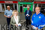 Maire Williams (Rock Street Post Office) standing with Haulie Kerins (Chairman of Kerins O'Rahilllys Club) who are selling the lotto tickets exclusively for Kerins O'Rahillys. Also in the photo, back l to r: Martin Williams and Michael Mangan (Treasurer of Kerins O'Rahillys)