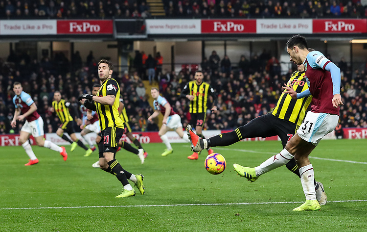 Burnley's Dwight McNeil crosses under pressure<br /> <br /> Photographer Andrew Kearns/CameraSport<br /> <br /> The Premier League - Watford v Burnley - Saturday 19 January 2019 - Vicarage Road - Watford<br /> <br /> World Copyright &copy; 2019 CameraSport. All rights reserved. 43 Linden Ave. Countesthorpe. Leicester. England. LE8 5PG - Tel: +44 (0) 116 277 4147 - admin@camerasport.com - www.camerasport.com