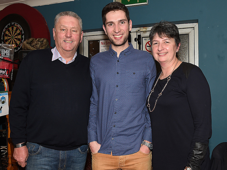 UCD cycle team member Ian Richardson and his parents Philip and jane pictured at the Slane Spinners Cycle Club launch in The Boyne Valley Inn Slane. Photo:Colin Bell/pressphotos.ie