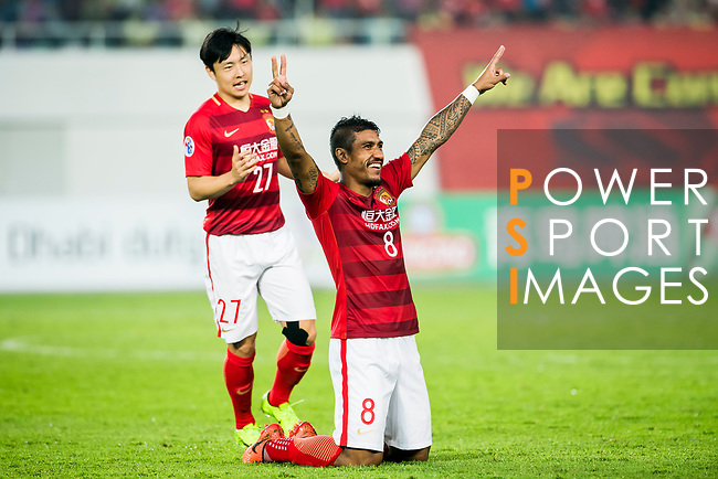 Jose Paulo Bezerra Maciel Junior (r) of Guangzhou Evergrande FC celebrates during their AFC Champions League 2017 Match Day 1 Group G match between Guangzhou Evergrande FC (CHN) and Eastern SC (HKG) at the Tianhe Stadium on 22 February 2017 in Guangzhou, China. Photo by Victor Fraile / Power Sport Images