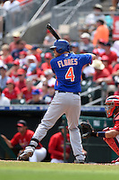 New York Mets infielder Wilmer Flores (4) during a Spring Training game against the St. Louis Cardinals on April 2, 2015 at Roger Dean Stadium in Jupiter, Florida.  The game ended in a 0-0 tie.  (Mike Janes/Four Seam Images)