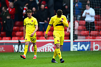 Fleetwood Town's Ched Evans looks dejected<br /> <br /> Photographer Richard Martin-Roberts/CameraSport<br /> <br /> The EFL Sky Bet League One - Barnsley v Fleetwood Town - Saturday 13th April 2019 - Oakwell - Barnsley<br /> <br /> World Copyright &not;&copy; 2019 CameraSport. All rights reserved. 43 Linden Ave. Countesthorpe. Leicester. England. LE8 5PG - Tel: +44 (0) 116 277 4147 - admin@camerasport.com - www.camerasport.com