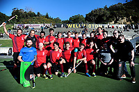 The Hutt team celebrates celebrate winning the Wellington premier men's hockey final between Dalefield and Hutt United at The National Hockey Stadium, Wellington, New Zealand on Saturday, 11 August 2018. Photo: Dave Lintott / lintottphoto.co.nz