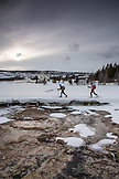 USA, Wyoming, Yellowstone National Park, two women cross country ski in the Old Faithful area of the Upper Geyser Basin