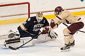 Cal Peterson (Notre Dame - 40), Chris Calnan (BC - 11) - The Boston College Eagles defeated the University of Notre Dame Fighting Irish 6-4 (EN) on Saturday, January 28, 2017, at Kelley Rink in Conte Forum in Chestnut Hill, Massachusetts.The Boston College Eagles defeated the University of Notre Dame Fighting Irish 6-4 (EN) on Saturday, January 28, 2017, at Kelley Rink in Conte Forum in Chestnut Hill, Massachusetts.