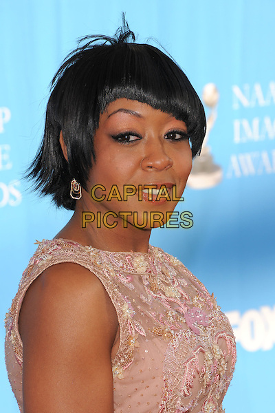 TARAJI HENSON.Attends The 39th NAACP Image Awards held at The Shrine Auditorium in Los Angeles, California, USA..February 14th, 2008        .headshot portrait pink.CAP/DVS.©Debbie VanStory/Capital Pictures.