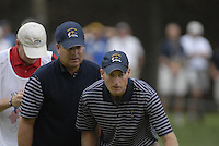 USA Team players Jim Furyk and Kenny Perry line up their putt on the 15th green during the Morning Foursomes on Day 2 of the Ryder Cup at Valhalla Golf Club, Louisville, Kentucky, USA, 20th September 2008 (Photo by Eoin Clarke/GOLFFILE)